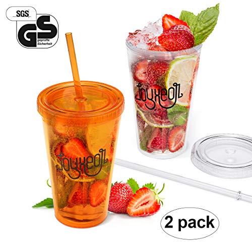 Joyxeon bicchieri in plastica bicchiere smoothie con coperchio e cannucce in plastica da 450ml trasparente - set da 2 pezzi (arancione)