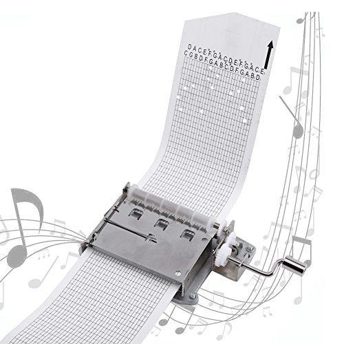 Dewin Caja de música - Cinta de manivela de 30 Notas Caja de música Parte de Movimiento y Perforadora, 3 Tiras, Bricolaje Sus Canciones