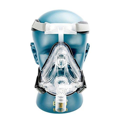 Cpap-maske Kopfbedeckung (BMC FM1Full Face Maske bei Schnarchen für Medical CPAP-bipap-Silikon Gel Material Größe S/M/L mit Kopfbedeckung Clip)