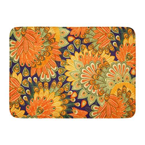 Fußmatten Bad Teppiche Outdoor/Indoor Fußmatte Orange 1970er Jahre Vintage Muster blau Paisley Floral 70er Jahre 60er Jahre 1960er Jahre Badezimmer Dekor Teppich Badematte -