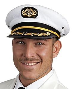 Boland-Código 44372 - Gorra de capitán de barco, unisex -Para adulto, color blanco/negro/dorado, talla única