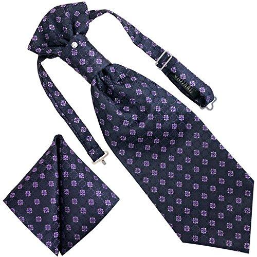 GASSANI 3- SET Plastron | Violette breite Krawatte & Einstecktuch | Binder zum Anzug Verlobung Hochzeit | Hochzeitskrawatte fertig gebunden