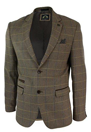 Braunes Sakko, Blazer (Herrensakko Braun Vintage Fischgräte Tweed Design Eng Tailliert Lässig)
