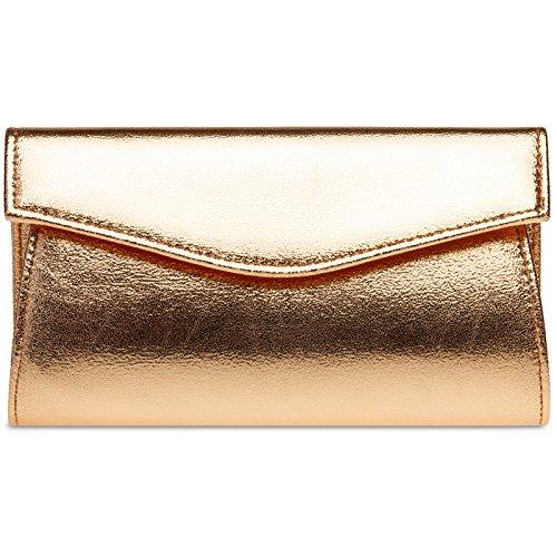 Caspar TA426 stylisch elegante Damen Metallic Envelope Clutch Tasche Abendtasche mit langer Kette, Größe:One Size, Farbe:roségold (Envelope Clutch Metallic)