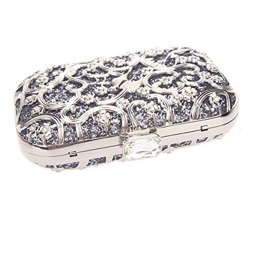 Bonjanvye Bird Print Purses and Handbags for Women Speacial Hand Clutch for Ladies Purple gray