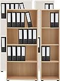 VCM Regal Büroregal Bücherregal Aktenregal Standregal Schrank Büromöbel Omegos 3 Breite 40 cm, Buche