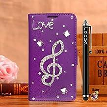 Locaa(TM) For Alcatel OneTouch Pop 3 Pop3 5.0 inch 3D Bling Case Funda Cuero Para Protector Dura Accesorios Funda Bumper Shell Caso Alta Calidad Piel Phone Cover Cas [3] Púrpura - Nota musical