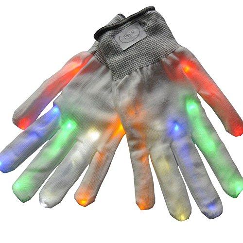 (lzn 1 Paare Unisex LED Leucht Handschuhe 6 Modi Blinkt Glow Rave Kühlen Licht Handschuhe Fingerhandschuh Halloween Party Supplies)