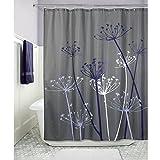 InterDesign Thistle Duschvorhang | 183,0 cm x 183,0 cm Großer Badewannenvorhang | waschbarer Duschvorhang aus Weichem Stoff | mit Blumen-Motiv | Polyester Grau/Violett
