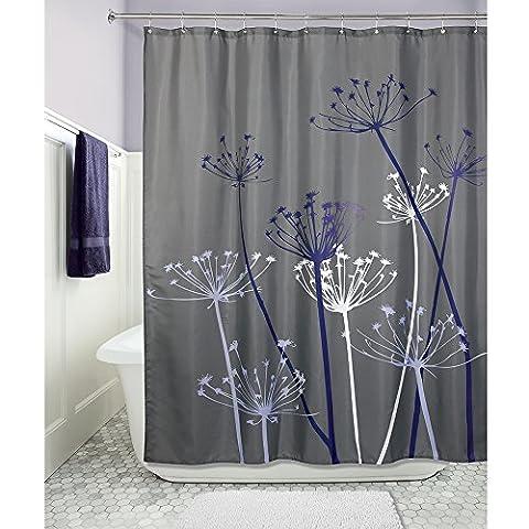 InterDesign Thistle Duschvorhang | 183,0 cm x 183,0 cm großer Badewannenvorhang | waschbarer Duschvorhang aus weichem Stoff | mit Blumen-Motiv | Polyester