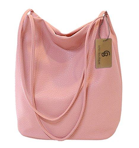 Eimer Tasche Damen Handtasche Leder Schultertasche Umhängetaschen Beutel,Pink (Leder Taschen Rosa)
