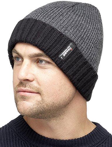 HeatGuard Mens Thinsulate Fleece Lined 2 Tone Beanie Hat