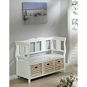sitzbank lina mit r ckenlehne landhaus bank weiss shabby. Black Bedroom Furniture Sets. Home Design Ideas