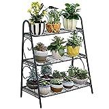 JIAOXM Support de Plante en Fer forgé, étagères de Rangement des Plantes/escalier en Fleurs, 3 Couches de Support de Fleurs, Support de Fleurs décoratif pour Jardin,Black...