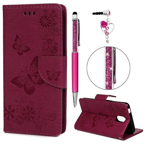 iAdvantec Wiko Lenny 5 Hülle Case, Filp PU Leder Wallet Handyhülle Flipcase : Bookstyle Schmetterlingsprägung Tasche Brieftasche Schutzhülle in Rose Rot + Anti Staub Stöpsel + Stylus