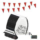Partituki Gadget Compleanno Bambini 30 Zaini da Colorare e 30 Sets di 5 Pastelli a Cera Colorati e Una Ghirlanda di 10 Metri. Ideale per Regalini Fine Festa Bambini e Pignatta