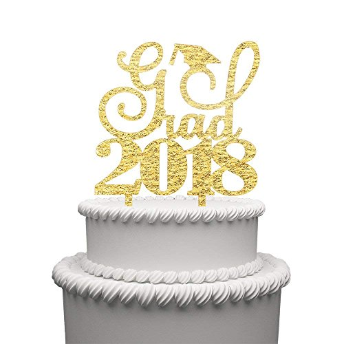 Grad 2018Congrats Acryl Kuchen topper-perfect Graduation Dekorationen Party Supplies für Grad Party Gold