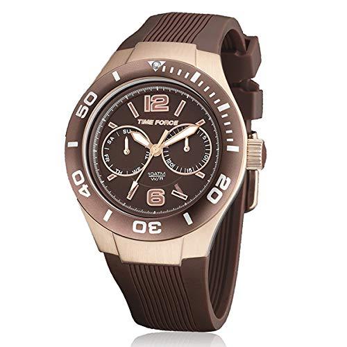 Time Force tf4181l15–Montre avec bracelet en silicone pour femme, couleur marron/gris