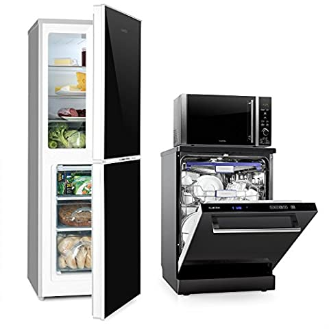 Klarstein Luminance Set Küchenelektrogeräte (Kühl-Gefrierkombination mit EEK A+++, Geschirrspüler mit 2100 Watt, Mikrowellenofen mit Grillfunktion)