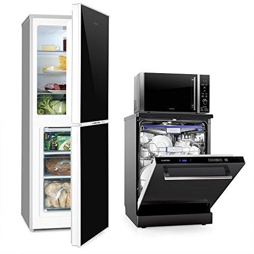 Klarstein Luminance Set Küchenelektrogeräte (Kühl-Gefrierkombination mit EEK A+++, Geschirrspüler mit 2100 Watt, Mikrowellenofen mit Grillfunktion) schwarz