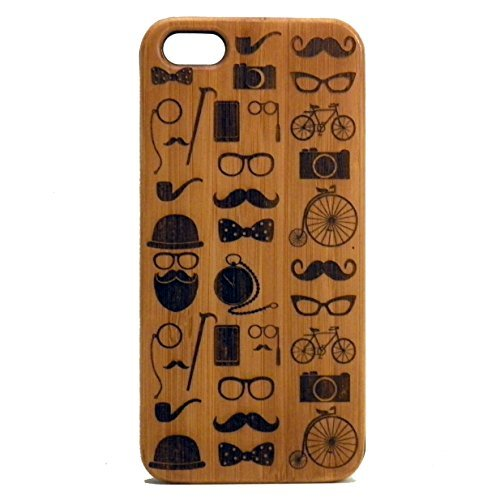 Hipster Ikonen iPhone 6 Plus Oder iPhone 6S Plus Case/Cover von imakethecase | Schnurrbart Bart Brille Fliege Tophat Rohr Kamera Fahrrad Monocle | Bambus, Holz. (Glas-schnurrbart-rohr)