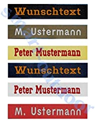 Namensschild MIT KLETT - Bestickt mit eigenem Namen/Text