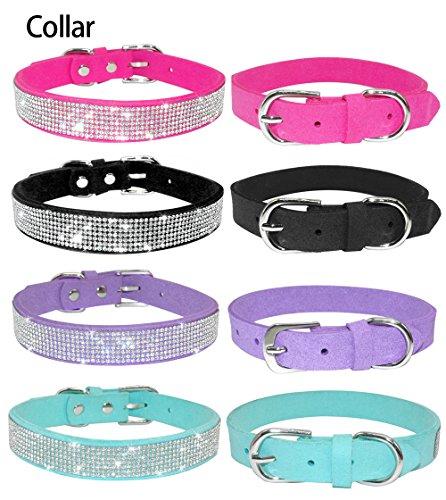 Eflio(TM Bling Full Rhinestone Crystal Diamante Pet Puppy Chihuahua Dog Cat Collars Lesh Lead Set Pink Black For Small… 2