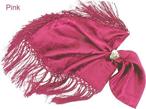 Trachtentuch/Dirndltuch Damen 100% Seide - Seidentuch mit Fransen - Trachtenseidentuch - Pink
