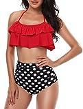 Damen Bikini Set Retro Volant Hohe Taille Bademode Badeanzug Neckholder Zweiteilige Strandkleidung für Frauen Rot S