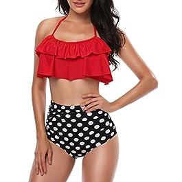 Bequemer Laden Top Bikini con Volant Costumi da Bagno da Donna a Vita Alta