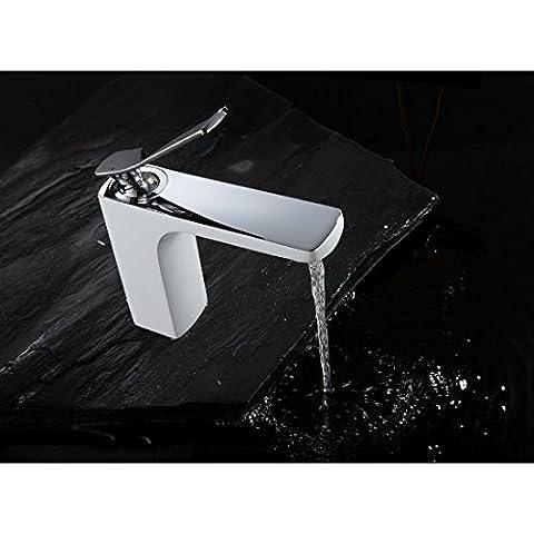 Fapully Wasserhahn Bad Armatur Waschtischarmatur Waschbecken Einhebelmischer Badarmatur für Badzimmer Weiß Chrom
