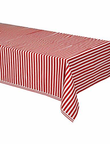 Generique - Rot-weiße gestreifte Tischdecke aus Plastik 137 x 274 cm. (Weiße Tischdecke Rot)