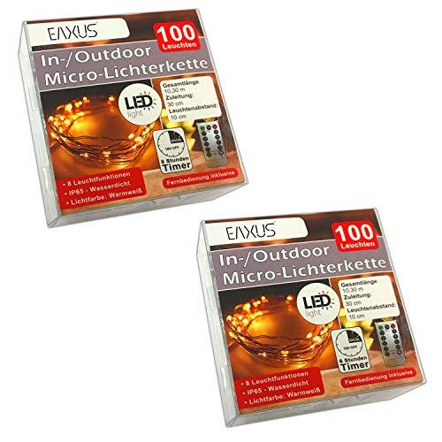2er Set LED Deko Lichterkette Batterie Innen / Außen Fernbedienung 100 Leuchten | Timer Lichterdraht Outdoor / Indoor | Drahtlichterkette Leuchtdraht