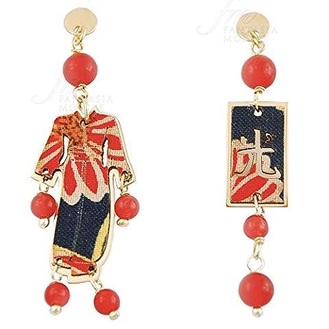 Boucles d'oreilles Lebole Bijoux Kimono Mini Argent Soie Japonais Pierre Rubis ytalffm