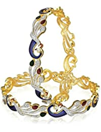 DS Multicolour Dancing Peacock Traditional Jewellery Gold Plated Pearl Bracelets Bangles Jewellery For Women And...