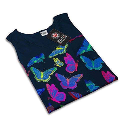 Schmetterling Tier Geek Kunst Insekt Farbe Damen S-2XL Muskelshirt | Wellcoda Marine