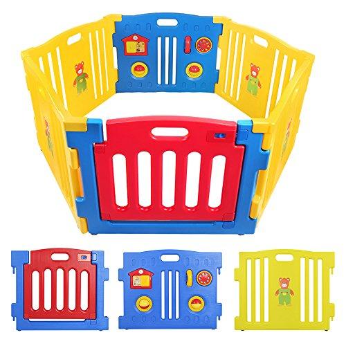BEBEHUT® Reja de seguridad Barreras protectoras de plástico para bebés Baby Vivo Parque Infantil 3601-D01 JBW06 azul – rojo – amarillo