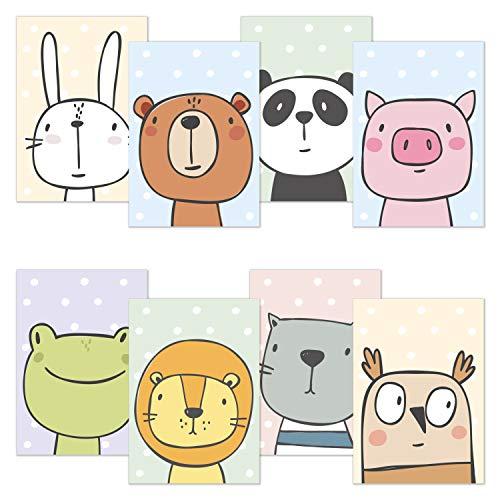 kizibi Kinderzimmer Poster 8er Set DIN A4 Comic Tiere   ohne Bilderrahmen   Babyzimmer Hase Bär Panda Schwein Frosch Löwe Katze Eule (Set 03)
