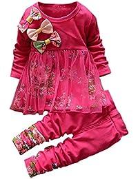 Conjuntos de bebé, Internet Ropa Floral De Las Muchachas Camiseta Vestido Superior Pantalones Equipos 2Pcs Conjunto