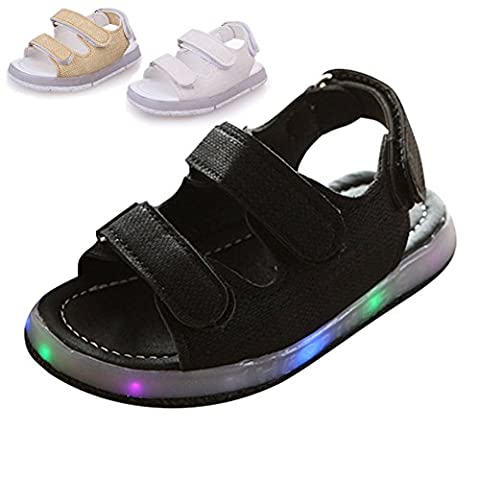 Sandales Enfants , Chickwin Unisex Sandales Chaussures à Lumière LED Plat Enfants Sandales Doux Et Respirant Légères Pour Chaussures (22, Noir)