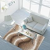 ayshaggy Teppich Shaggy-Design Hochflor Langflor mit Wellen-Muster für Wohnzimmer/Schlafzimmer in Beige, Braun, Creme, Größe: 200 x 290 cm