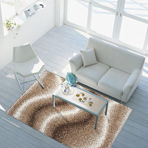 ayshaggy Teppich Shaggy-Design Hochflor Langflor mit Wellen-Muster für Wohnzimmer/Schlafzimmer in Beige, Braun, Creme, Größe: 80 x 150 cm (Beige-braun-teppich)