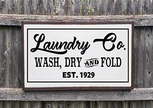 Eli231Abe Laundry Co - Señal de Madera (17 x 35 cm), diseño...