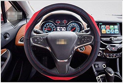 Preisvergleich Produktbild Zantec-Auto-Lenkradhülle aus echtem Leder, Universal, Anti-Rutsch, Schwarz/Rot, 40x 40cm