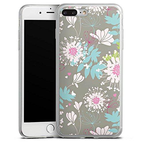 Apple iPhone 8 Plus Slim Case Silikon Hülle Schutzhülle Blumen Dekor Oldschool Silikon Slim Case transparent