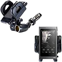 Cigarette Lighter Mount Holder Compatible with Sony Walkman NW-A40 12V Receptacle Mount Includes USB Port