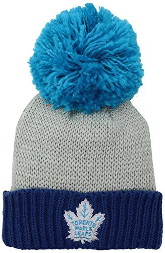 Reebok NHL Damen SP17Neon Logo Cuffed Knit Pom mit Kopfbedeckungen, Damen, NHL SP17 Women's Neon Logo Cuffed Knit Pom, grau, Einheitsgröße