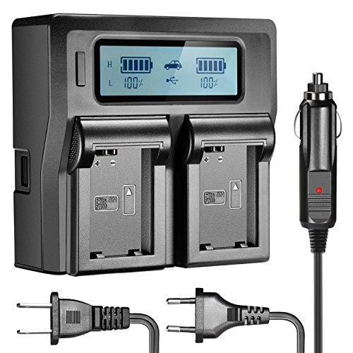 Neewer - Ladegerät mit LCD-Display für Sony NP-FW50-Akkus, kompatibel mit Sony NEX-3/5/6/7/C3/F3 SLT-A33/A37/A55 (US-Stecker + EU-Stecker + Auto-Adapter) A55 Lcd