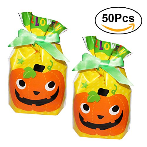 lloween Süßigkeiten Taschen 50pcs (Kürbis) (Halloween Taschen Für Trick Oder Treaters)
