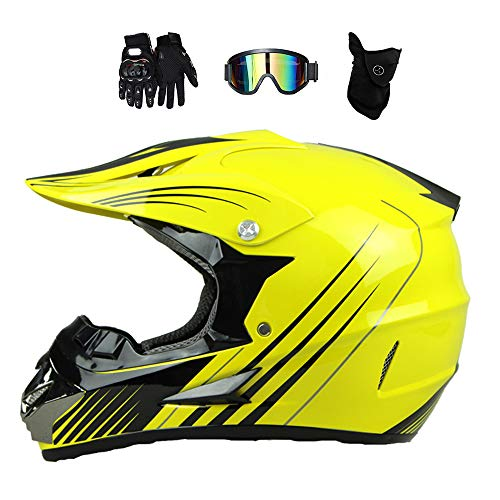 MRDEAR Motocross Helm Set (Brille/Handschuhe/Maske, 4Pcs) Fullface Helm MTB Kinder, Motorrad Crosshelm Jugend Kind Motorradhelm für Off Road BMX Mountainbike Cross-Country ATV, 3 Farben,Gelb,S